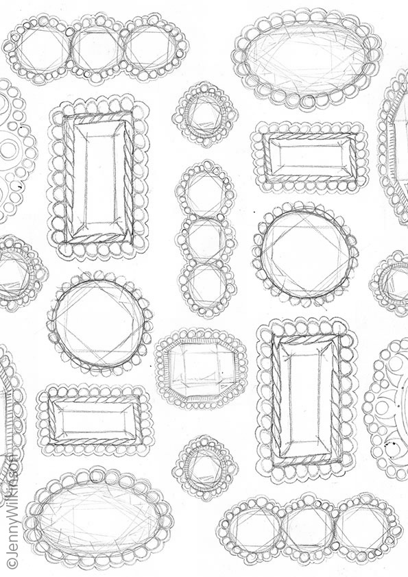 A brooch pattern pencil sketch