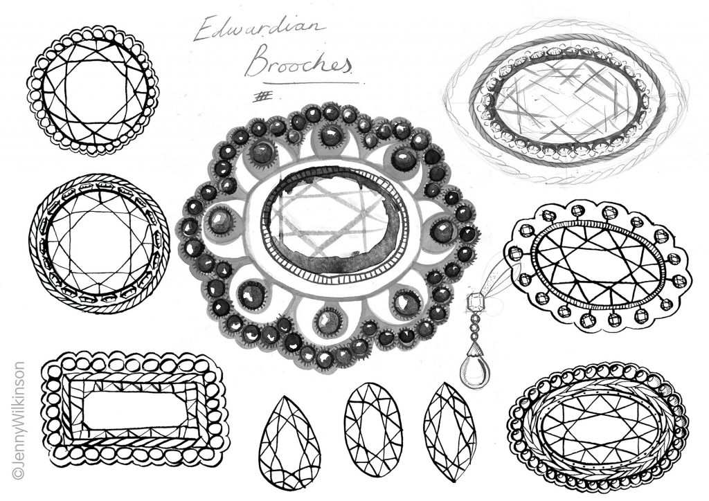 Ink drawings of Brooches