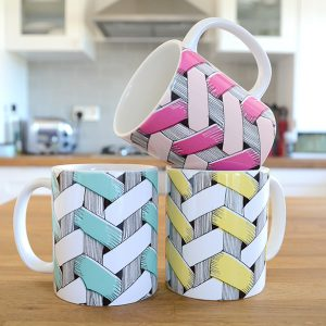 Basket Mugs in three colourways