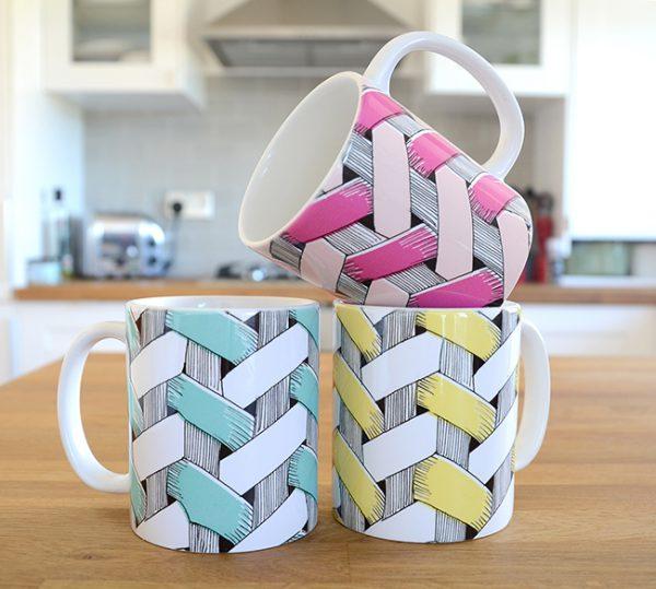 Basket Mugs in three colourways