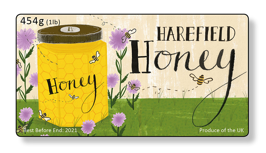 Harefield Honey label design